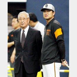 辞任した老川オーナー(左)と高橋監督(C)日刊ゲンダイ