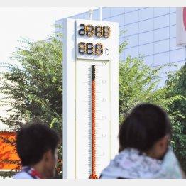 今年の最高気温を記録した岐阜県多治見市(C)共同通信社