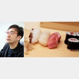 ランチの旬にぎりは3000円(左からタコ、ホタテ、中トロ、鉄火巻き)(提供写真)