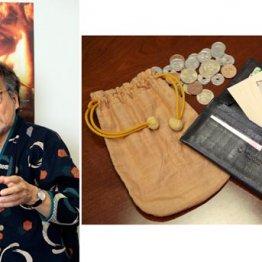 稲川淳二さん 黒の長財布の他にも茶色の硬貨専用巾着袋を