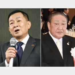会見する関東学連の柿沢理事長(左)と日大田中理事長(C)共同通信社