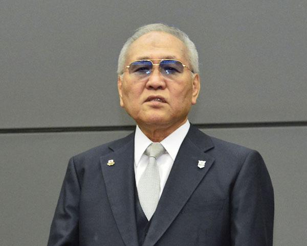 辞任を表明する日本ボクシング連盟の山根明会長(C)共同通信社