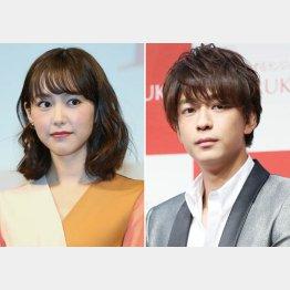 桐谷美玲(左)と三浦翔平(C)日刊ゲンダイ