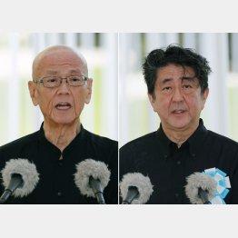 6月23日の沖縄全戦没者追悼式に出席した翁長知事と安倍首相(C)共同通信社