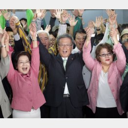 城間那覇市長(左)と樹子夫人(右)/(C)日刊ゲンダイ