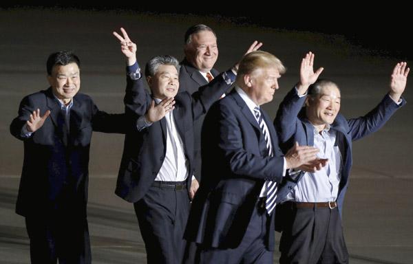 トランプ大統領は3人の解放に成功(C)共同通信社