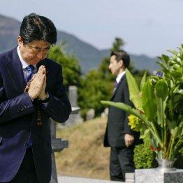 父・晋太郎元外相の墓前で手を合わせる安倍首相