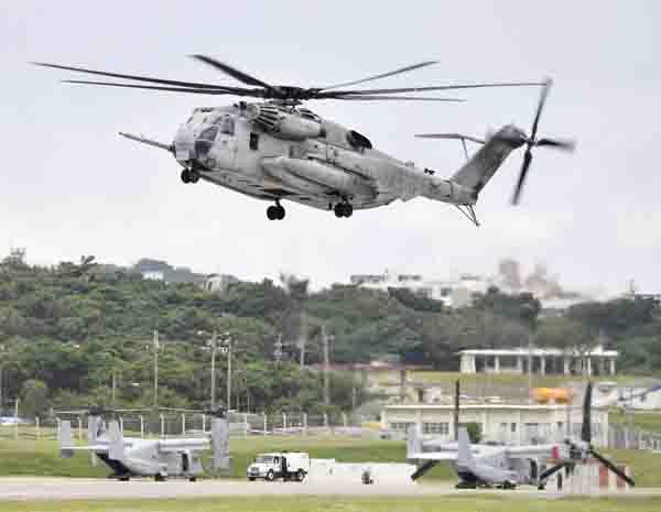 米軍のCH53Eヘリコプター(C)共同通信社
