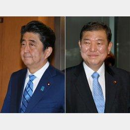 安倍首相(左)は「地方向け」ビデオ撮影のため一時帰京(C)日刊ゲンダイ