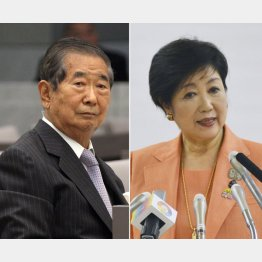 石原慎太郎元都知事(左)と小池百合子知事(C)日刊ゲンダイ