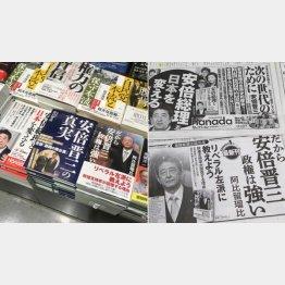平積みされた礼賛本(左) 新聞広告も党員へのアピール(C)日刊ゲンダイ