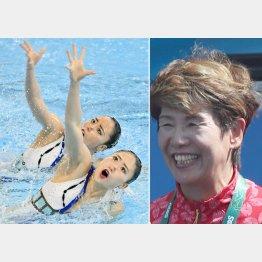 急造ペアの乾・吉田組と(左)井村コーチ(C)共同通信社