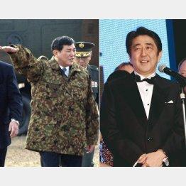 防衛庁長官時代の石破氏と14年の国際映画祭でスピーチする安倍首相(C)共同通信社