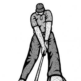 「ダウンスイングでは左足親指で地面を掴む」