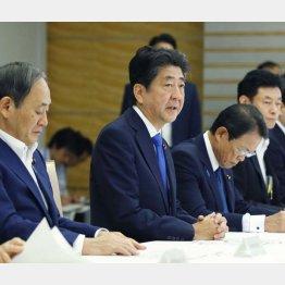 関係閣僚会議で勇ましい発言(C)共同通信社