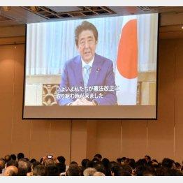 日本会議系の改憲集会にビデオメッセージ(C)日刊ゲンダイ