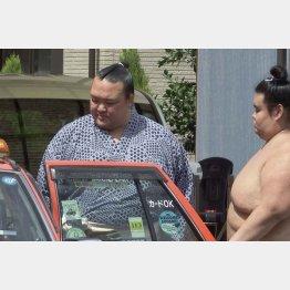 無言でタクシーに乗り込む和製横綱(C)共同通信社