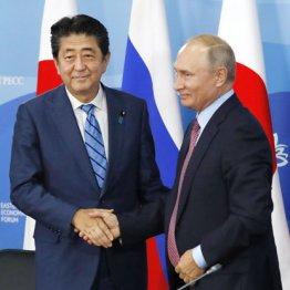 共同記者発表を終え、ロシアのプーチン大統領(右)と握手する安倍首相