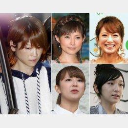 左から時計回りに吉澤ひとみ、安倍なつみ、辻希美、加護亜依、矢口真里(C)共同通信社
