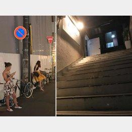 客待ち風の外国人女性が立つ路地に老朽化した雑居ビルが(C)日刊ゲンダイ