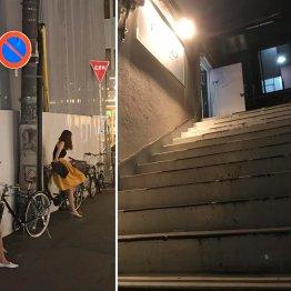 客待ち風の外国人女性が立つ路地に老朽化した雑居ビルが