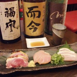 丹波地鶏の刺し身とお薦めの日本酒