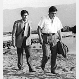 ロケ中、若山富三郎さんと(提供写真)