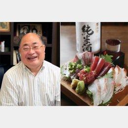 八百坂仁さん(左)と海鮮刺身5点盛(C)日刊ゲンダイ