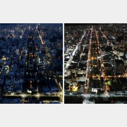 地震が発生した6日(左)と13日の札幌市中心部(C)共同通信社