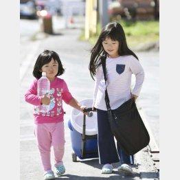 北海道厚真町で、避難所から自宅へ水を運ぶ姉妹(C)共同通信社