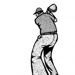 バックスイングは左かかとを上げると体重移動がスムーズに