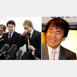 平尾さんの葬儀で喪主を務めた次男・亜希矢さん(左)と三男・勇気/(C)日刊ゲンダイ