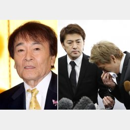 平尾さんの葬儀で喪主を務めた次男の亜希矢氏(左)と三男の勇気(C)日刊ゲンダイ