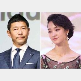 前澤社長(左)と剛力彩芽(C)日刊ゲンダイ