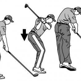 トップからダウンの切り返しで尻が少し低くなると前傾角度を維持できる