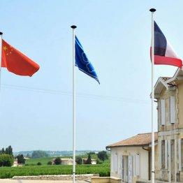 中国国旗がたなびく仏ボルドーのワイナリー