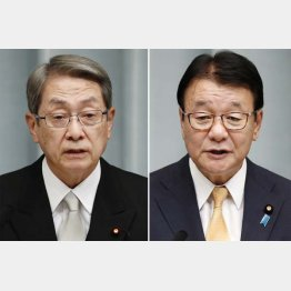 石田総務相(左)と山本防災相(C)共同通信社