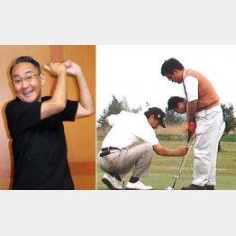 二木一夫社長(左)からレッスンを受ける師匠(当時は林家こぶ平)(提供)二木ゴルフ