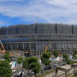 建設中の新国立競技場