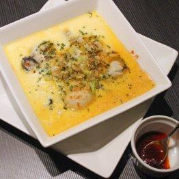 【牡蠣の中華風茶碗蒸し】蒸しは平たい皿で!