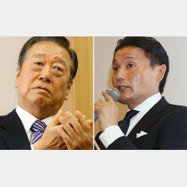小沢一郎・自由党代表と元貴乃花親方(C)日刊ゲンダイ