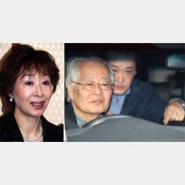 三田佳子(左)と渋谷署を後にする高橋祐也被告(C)日刊ゲンダイ