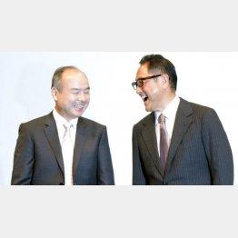 トヨタ自動車の豊田社長(右)とソフトバンクの孫社長/(C)日刊ゲンダイ