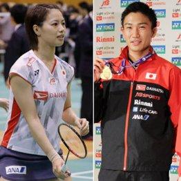 厳重注意を受けた福島由紀(左)と桃田賢斗