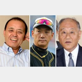 左から岡田彰布氏、金本監督、坂井信也オーナー(C)日刊ゲンダイ