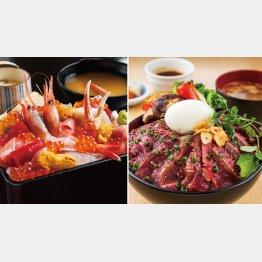 (左から)「極上贅沢海鮮重」(税込み2138円)、「新潟の旨いものを集めたこだわりのステーキ丼」(税込み1814円)/(提供写真)