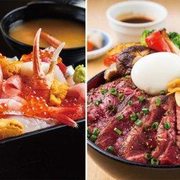 (左から)「極上贅沢海鮮重」(税込み2138円)、「新潟の旨いものを集めたこだわりのステーキ丼」(税込み1814円)