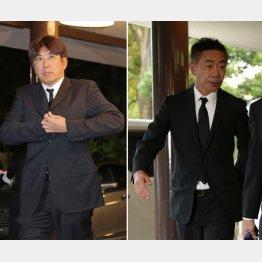 通夜に訪れたとんねるずの石橋貴明(左)と木梨憲武/(C)日刊ゲンダイ