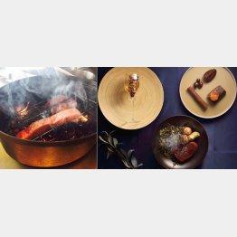 枯葉をいぶして作る神戸ビーフ料理(左)コース料理の一例(C)日刊ゲンダイ