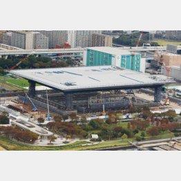 KYB製のダンパーが設置されていることが判明した建設中の五輪水泳センター(C)共同通信社